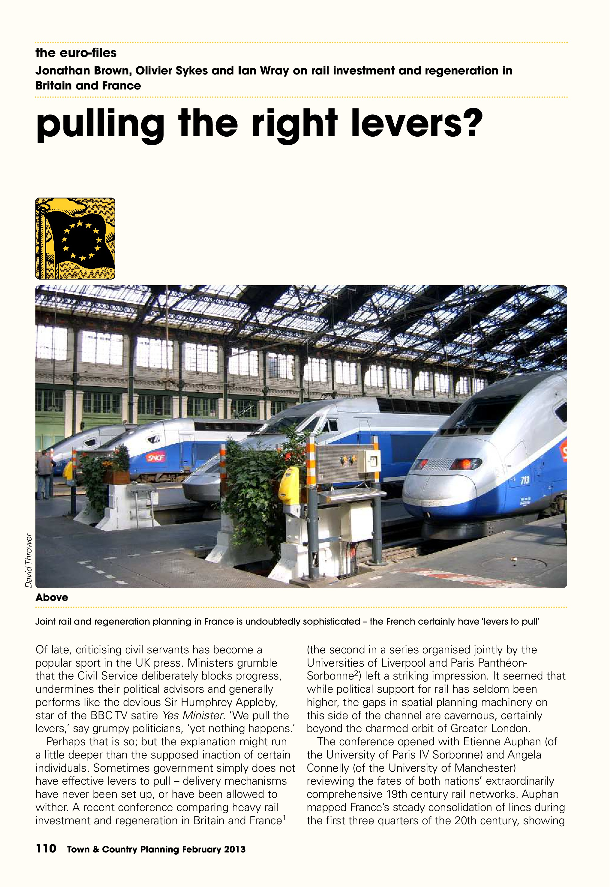 Town & Country Planning Association Journal, February 2013: 'Pulling the Right Levers' - 2nd Liverpool-Paris Rail Group Conference, p1/6