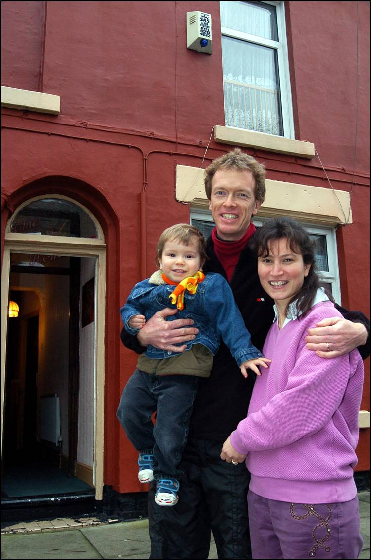 A family on the Welsh Streets, now driven out by demolition.