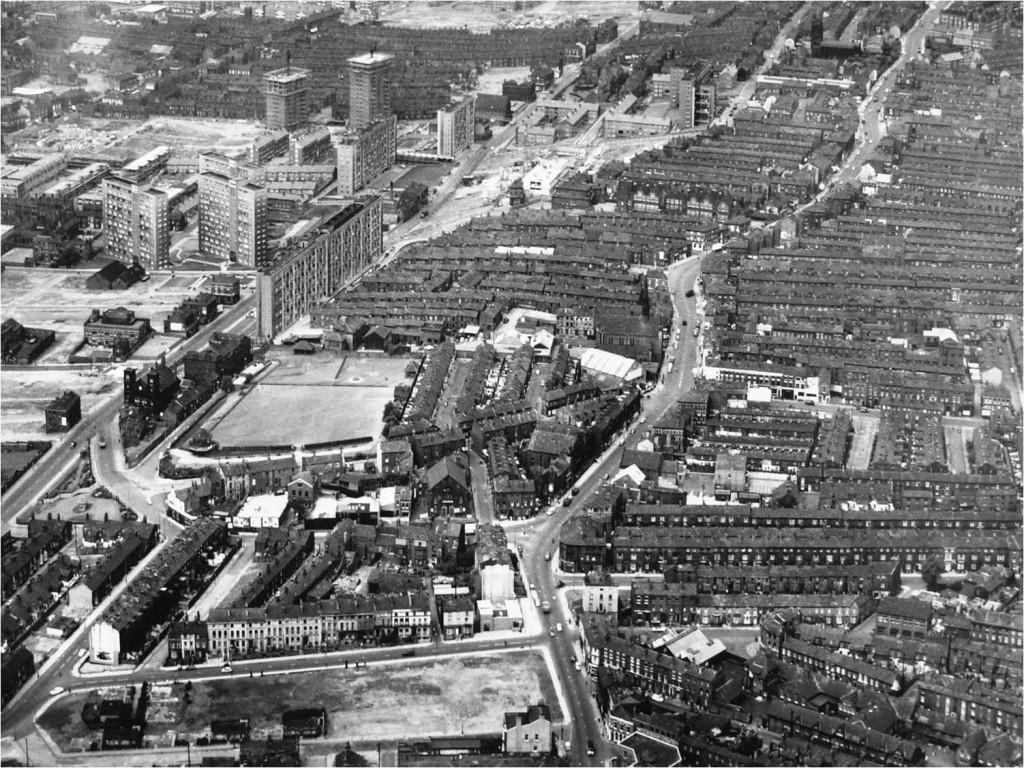 Aerial view of Everton's Heyworth Street area c.1970.  Several tower blocks have already appeared - some 25 would eventually be built, replacing all the terraced streets here visible.