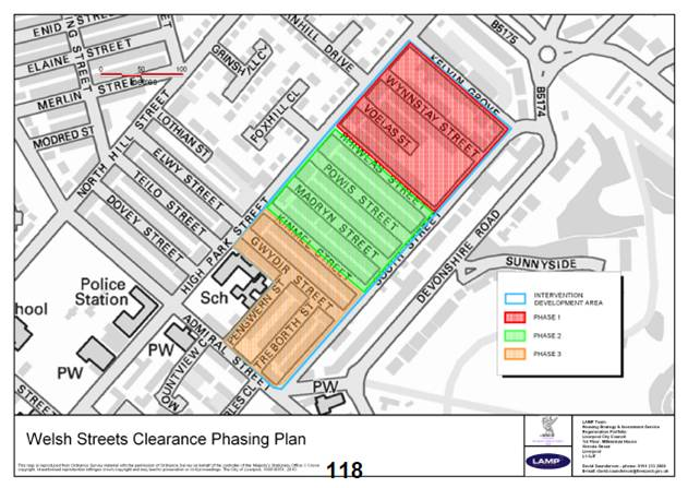Welsh Streets Clearance Phasing Plan.