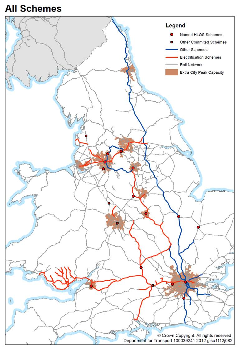 Rail Map of England and Wales showing planned major rail investments 2012 - 2019. Source: DfT High Level Output Specification