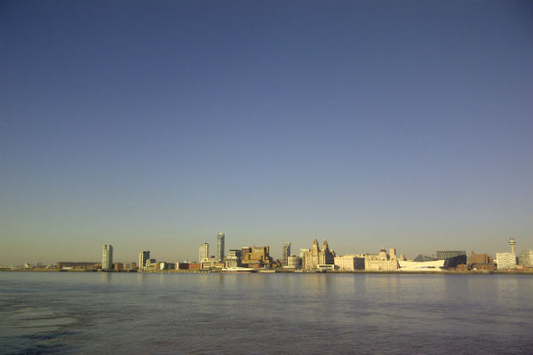 Liverpool's Waterfront Skyline on an early spring afternoon, from Seacombe Mersey Ferry terminal. Pic: Share the City
