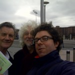 Michael Palin and Hollywood producer Steve Abbott with Jonathan Brown of Share the City