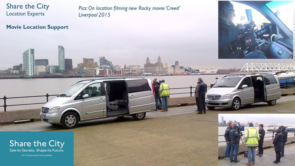 Movie scouting and location filming support using Share the City's location expertise and licensed Mercedes MPVs