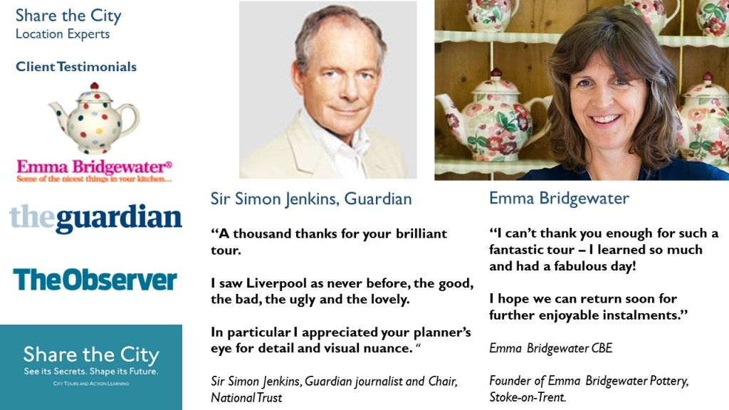 Entertaining and educational urban tours of Liverpool and Machester, recommended by Sir Simon Jenkins of the Guardian and ceramic designer and manufacturer Emma Bridgewater