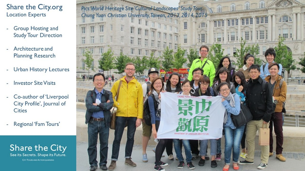 Liverpool's World Heritage Site Pier Head with students from Chung Yuan Christian University, Taiwan