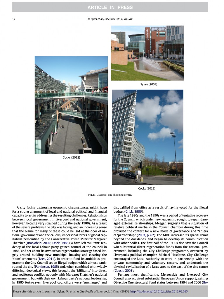 Liverpool City Profile, Journal of Cities, 2013, Page 12/20
