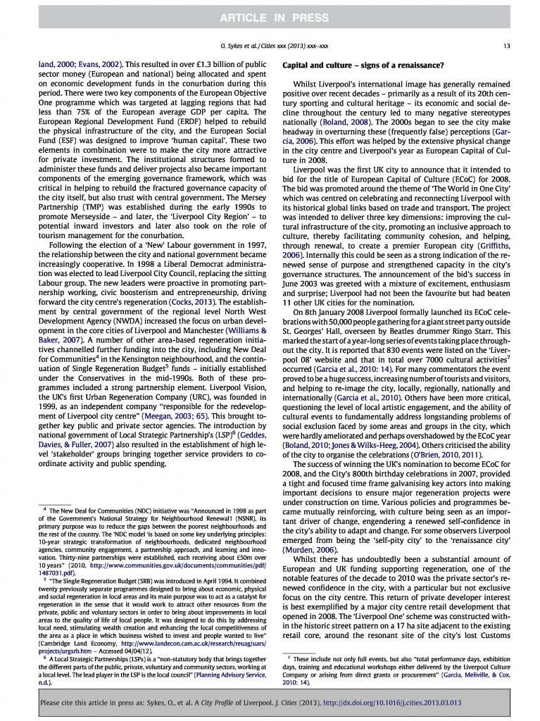 Liverpool City Profile, Journal of Cities, 2013, Page 13/20