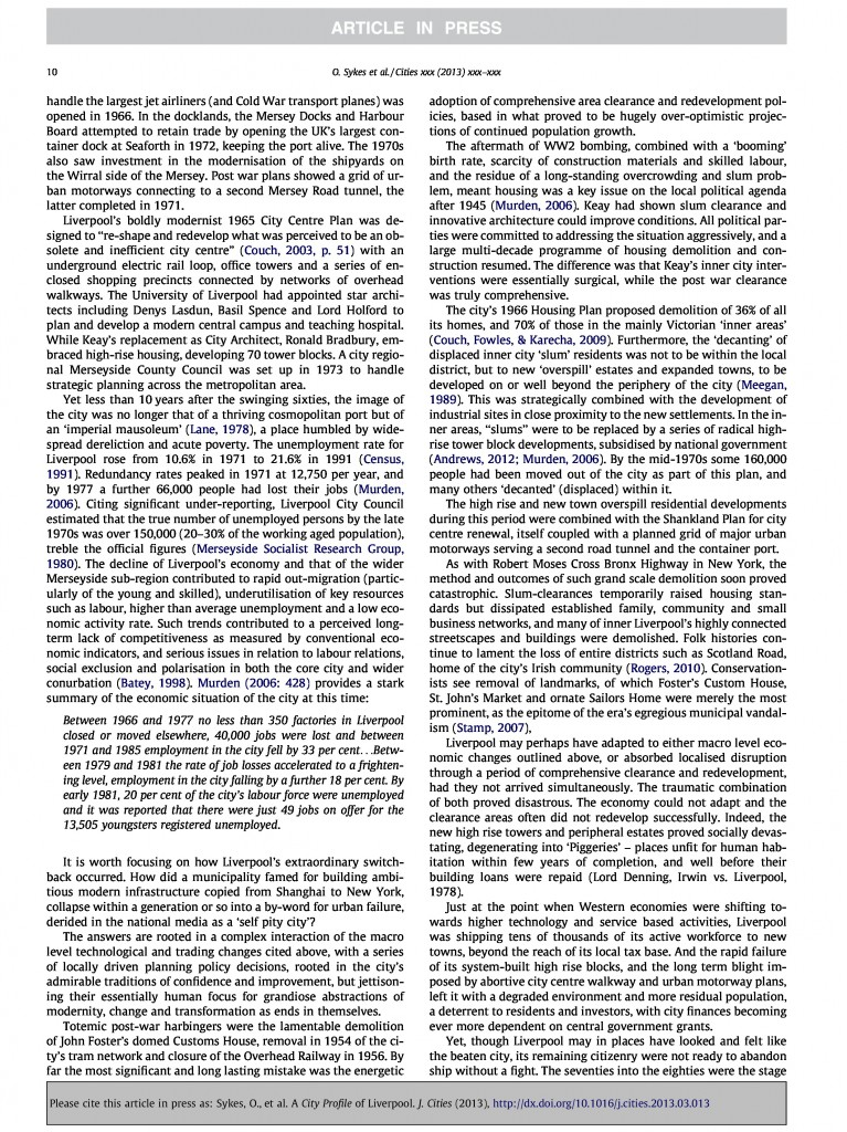 Liverpool City Profile, Journal of Cities, 2013, Page 10/20