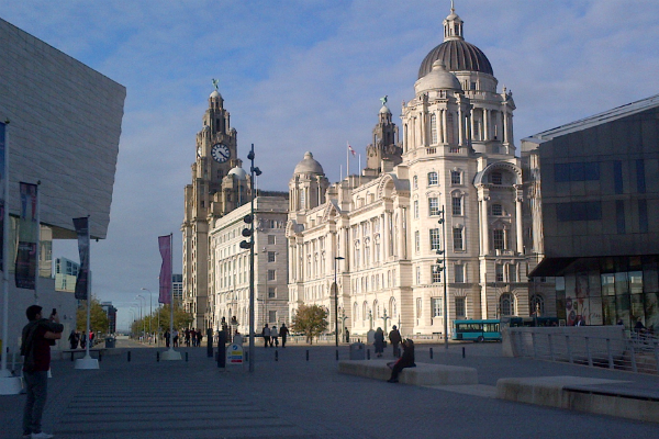 Liverpool Pier Head from the old Manchester Dock area.