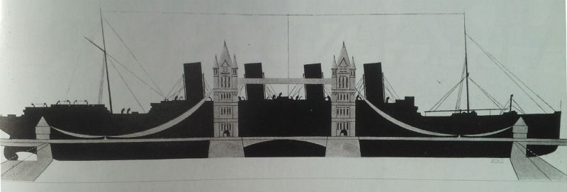 Edwardian graphic imagines QM2's predecessor Acquitania side-on to London's Tower Bridge, showing how the 901ft (275m) ship would dwarf the famous landmark, could it ever get close.
