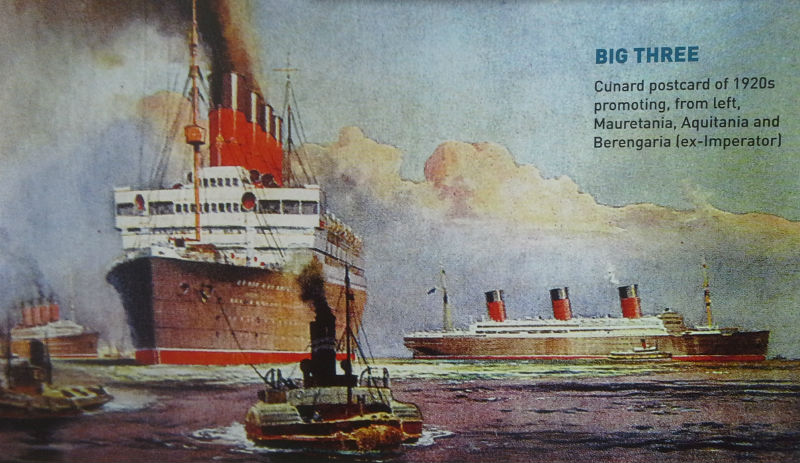 Cunard postcard painting from the 1920s showing an earlier equivalent of the Three Queens, (from left) Mauretania, Aquitania and Berengaria (ex-imperator)
