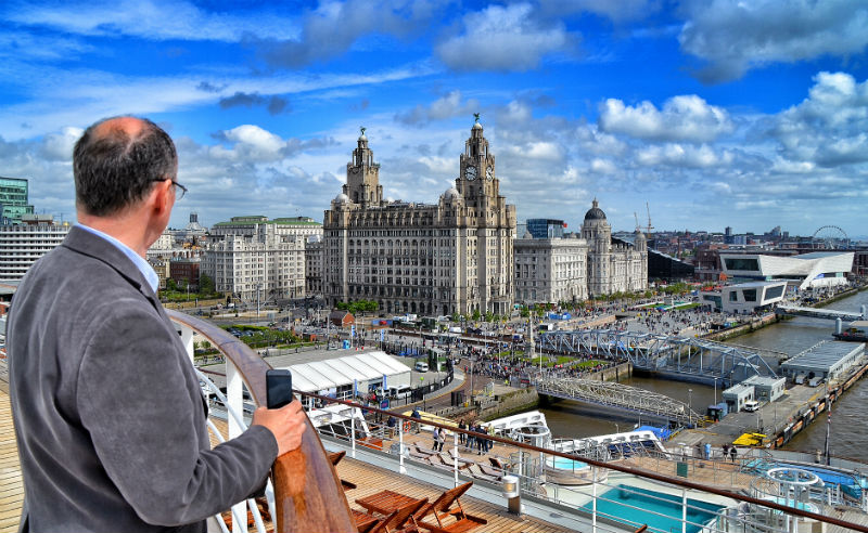 Onboard Cunard's Queen Mary 2 at Liverpool's Pier Head - Peter Elson and Share the City run Land Cruise Liverpool tours of Merseyside's Maritime History