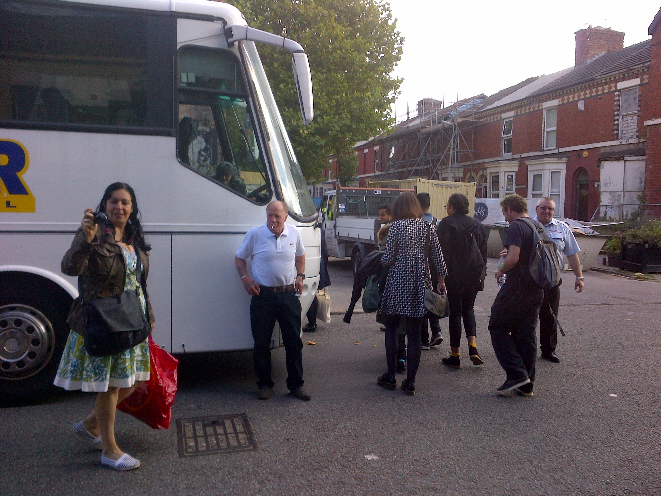 Granby Community Land Trust residents and supporters prepare to board the coach to the Turner Prize 2015 party