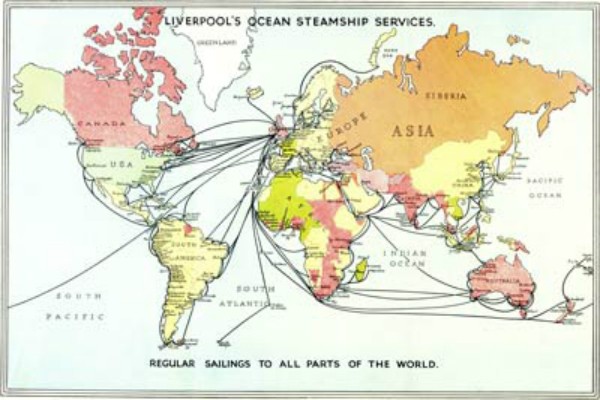 Colourful world map showing steamship services from Liverpool to 'all parts of the world'