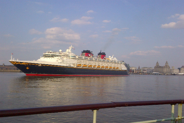 Disney Magic Cruise Liner leaving Liverpool's landing stage 27th May 2016