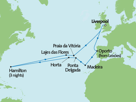 Boudicca's June 2017 Liverpool-America's Cup cruise route