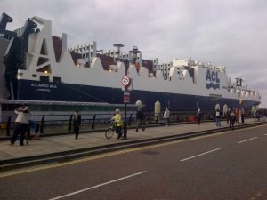 Liverpool registered CONRO cargo ship Atlantic Sea at the Cruise Terminal