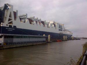 Cargo ship Atlantic Sea at Liverpool's Cruise Terminal