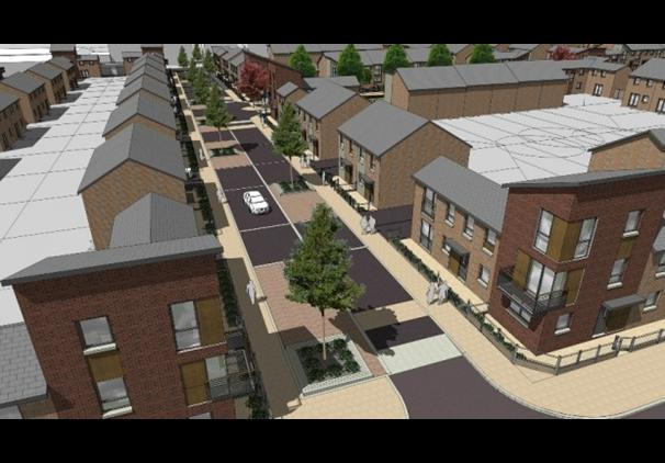 3D graphic showing Plus Dane and Triangle Architects new build proposals - worth demolishing 440 houses for?