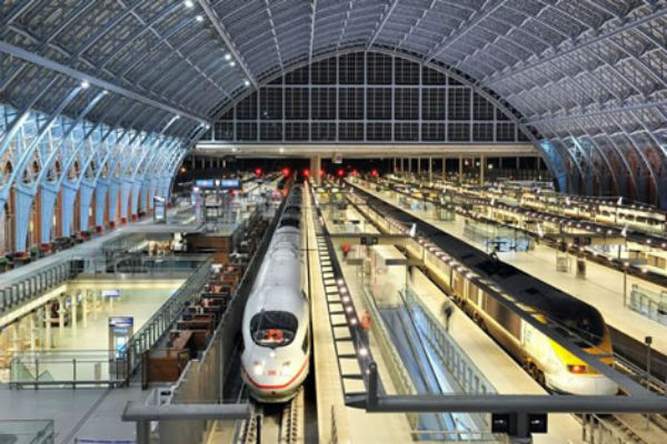 Deutsche Bahn ICE and Eurostar on HS1 at London St. Pancras - HS2 high speed rail services will eventually head north.