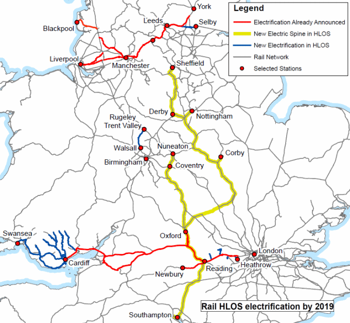 Rail map of England and Wales showing electrification by 2019. Source: Dft High Level Output Specification