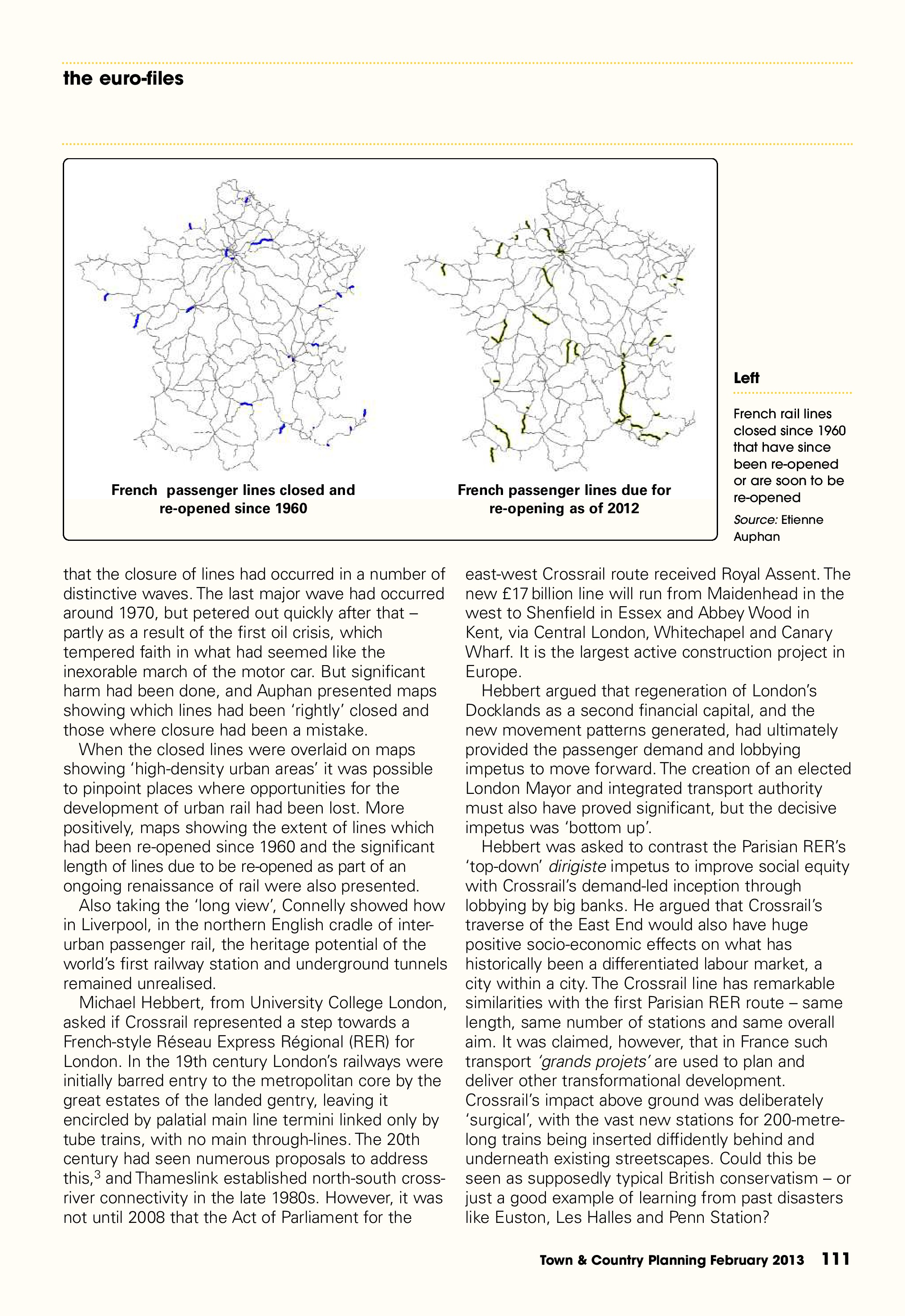 Town & Country Planning Association Journal, February 2013: 'Pulling the Right Levers' - 2nd Liverpool-Paris Rail Group Conference, p2/6