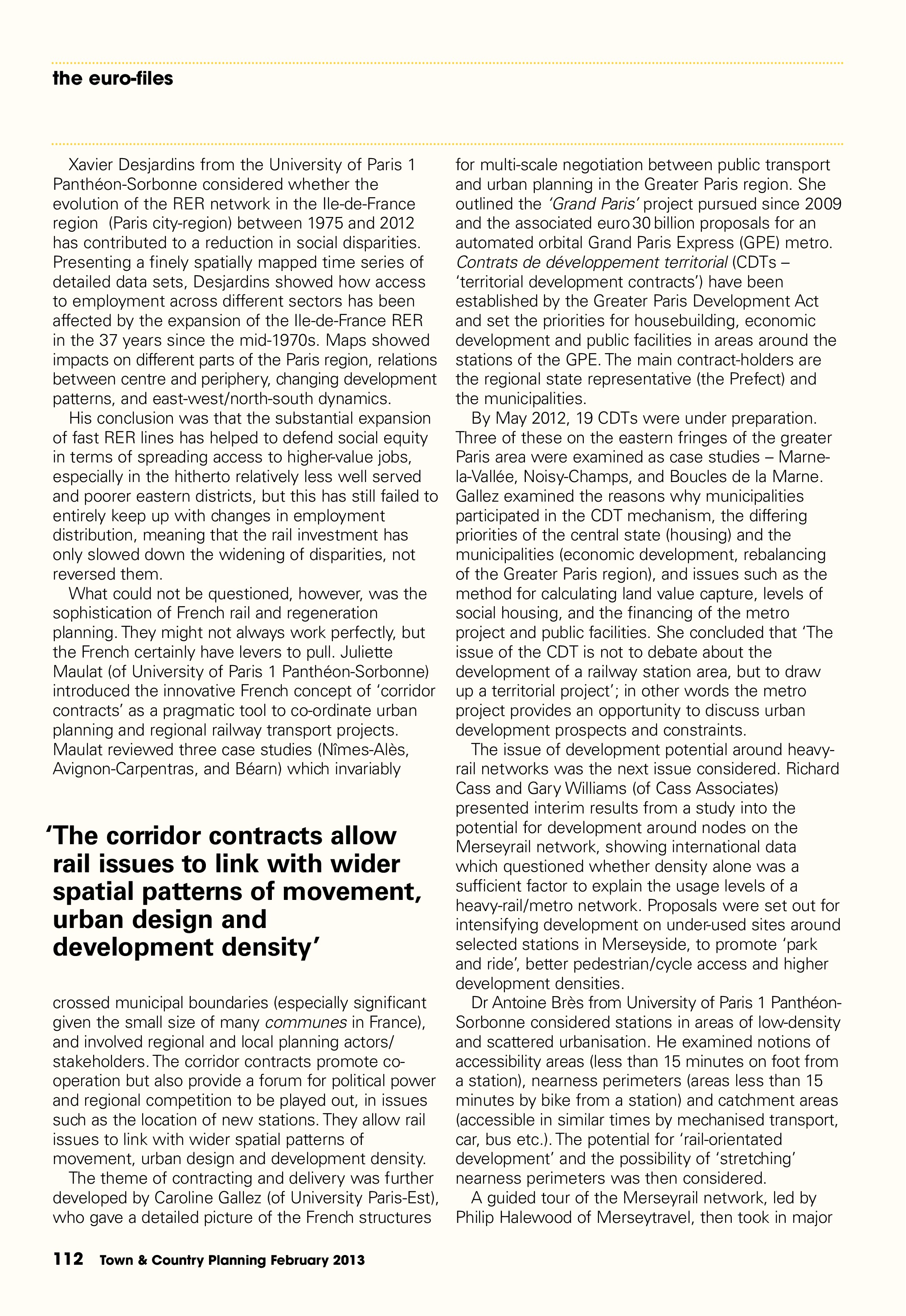 Town & Country Planning Association Journal, February 2013: 'Pulling the Right Levers' - 2nd Liverpool-Paris Rail Group Conference, p3/6
