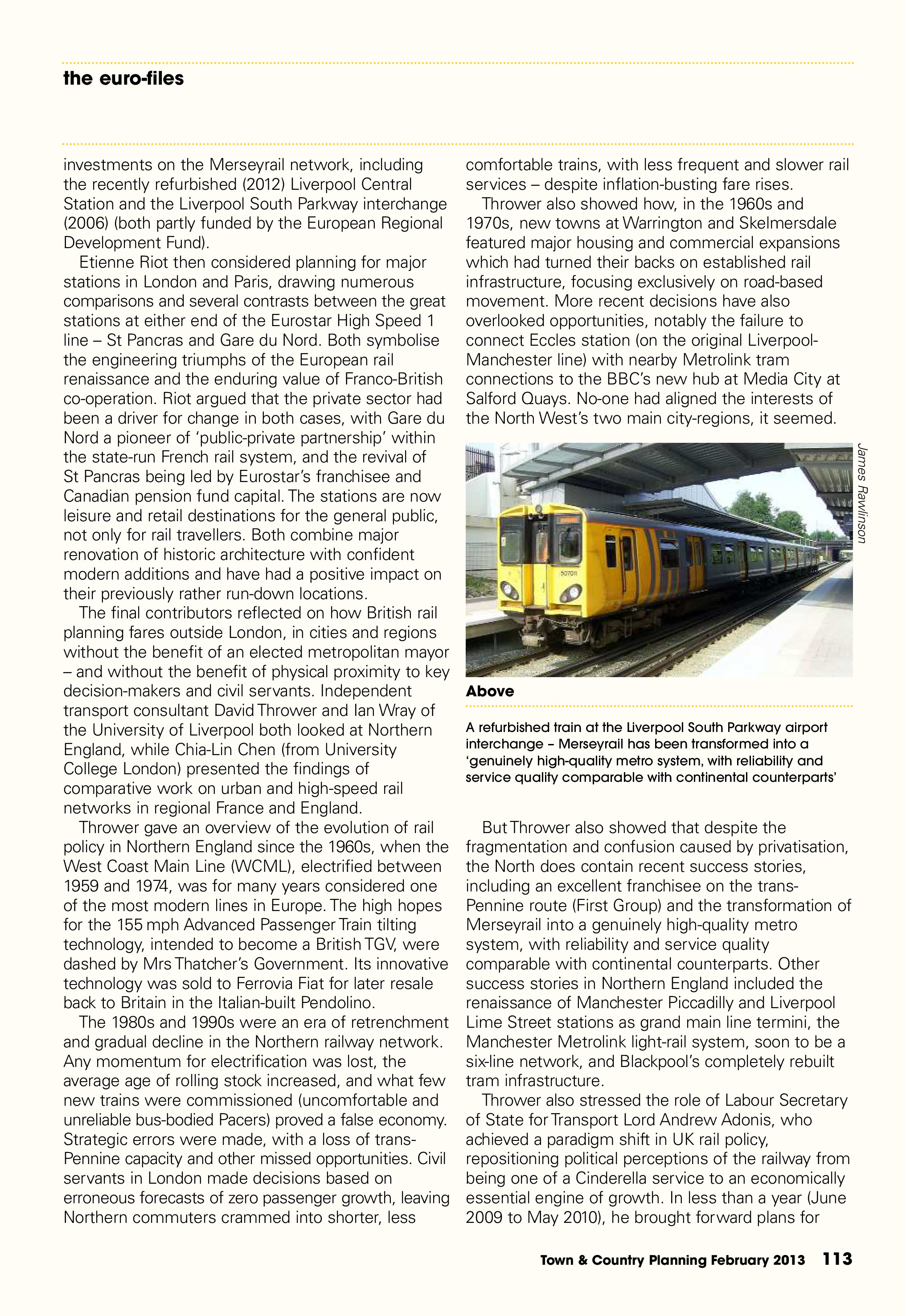 Town & Country Planning Association Journal, February 2013: 'Pulling the Right Levers' - 2nd Liverpool-Paris Rail Group Conference, p4/6