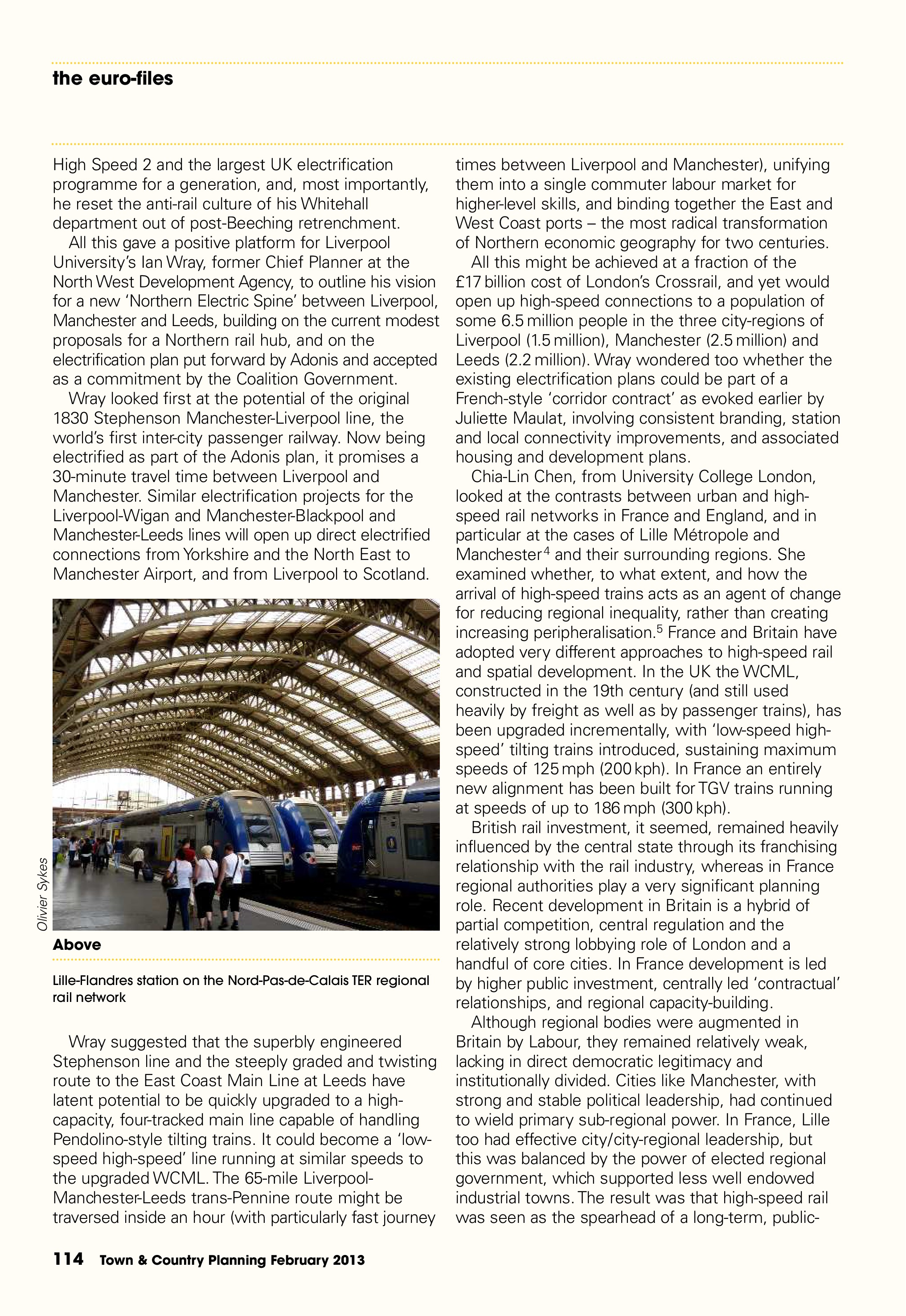 Town & Country Planning Association Journal, February 2013: 'Pulling the Right Levers' - 2nd Liverpool-Paris Rail Group Conference, p5/6
