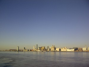 Liverpool's Waterfront Skyline on an early spring afternoon, from Seacombe Mersey Ferry terminal.