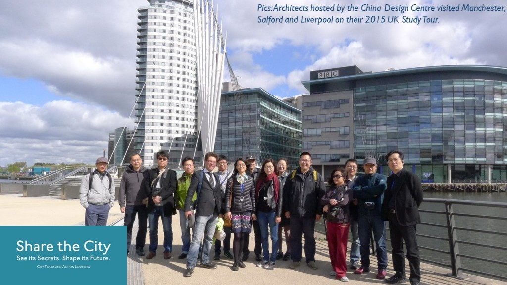Pic shows a large international group enjoying one of Share the City's Manchester tours and Liverpool tours, directed by professional planning and location experts