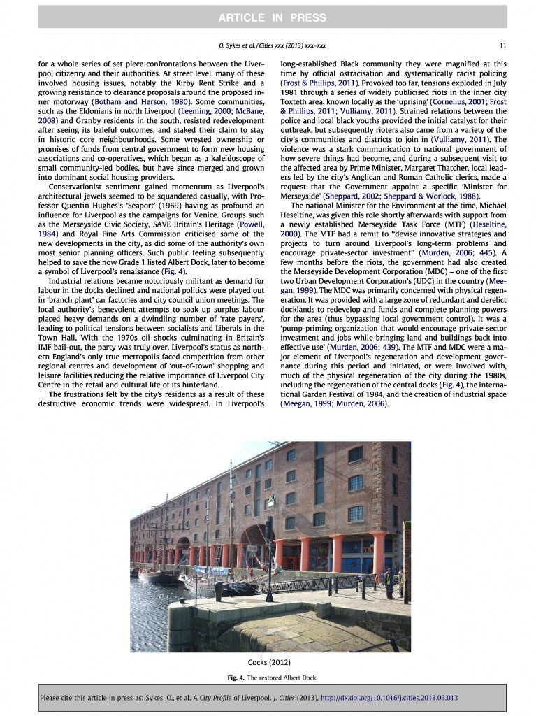 Liverpool City Profile, Journal of Cities, 2013, Page 11/20