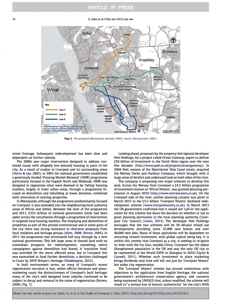 Liverpool City Profile, Journal of Cities, 2013, Page 16/20