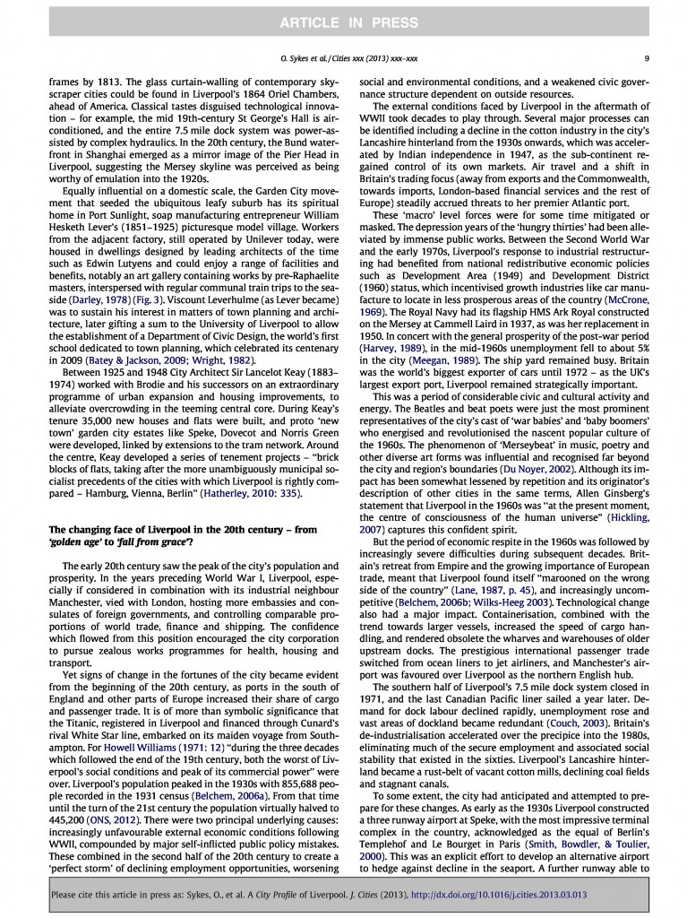 Liverpool City Profile, Journal of Cities, 2013, Page 9/20