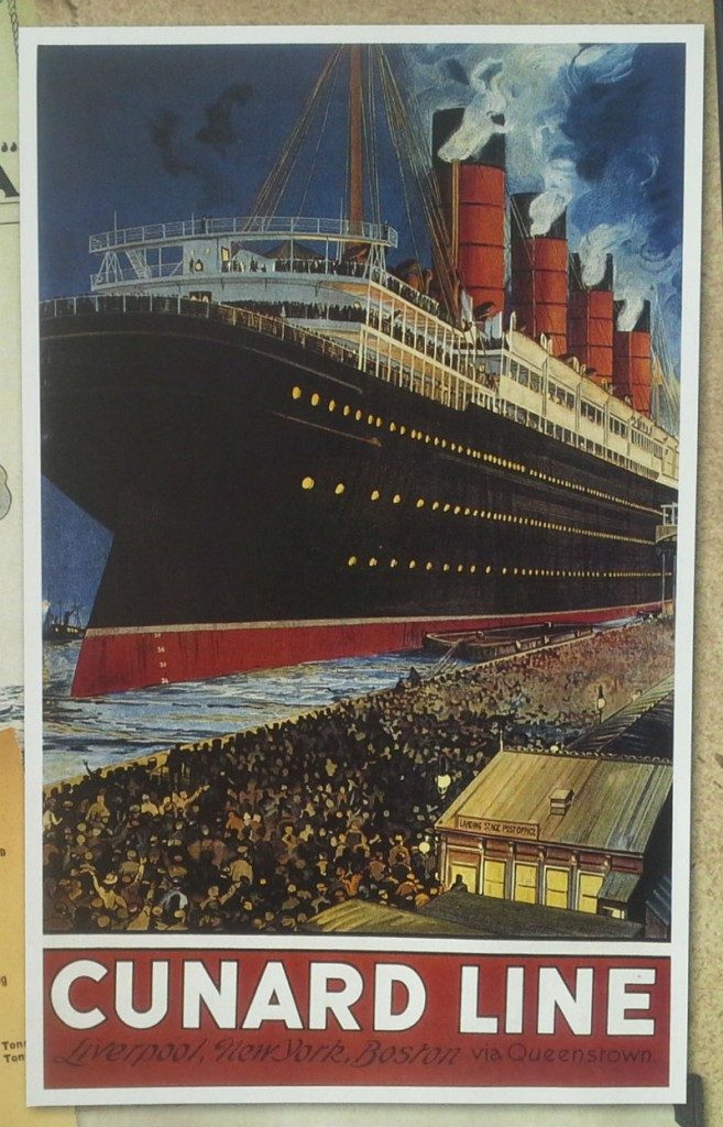 Historic Cunard poster shows Acquitania leaving the crowded Princes Landing Stage for an Atlantic crossing.