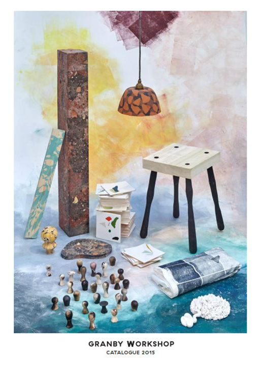 Illustrated cover to Turner Prize 2015 catalogue by Assemble, showing handmade items such as lamps, furniture and fireplaces recycled for sale by the Granby Workshop