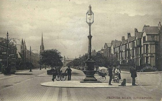 Liverpool's grandest Victorian boulevard Princes Road, shown in 1900 with perambulators, ornate street lamps and smooth stone sets