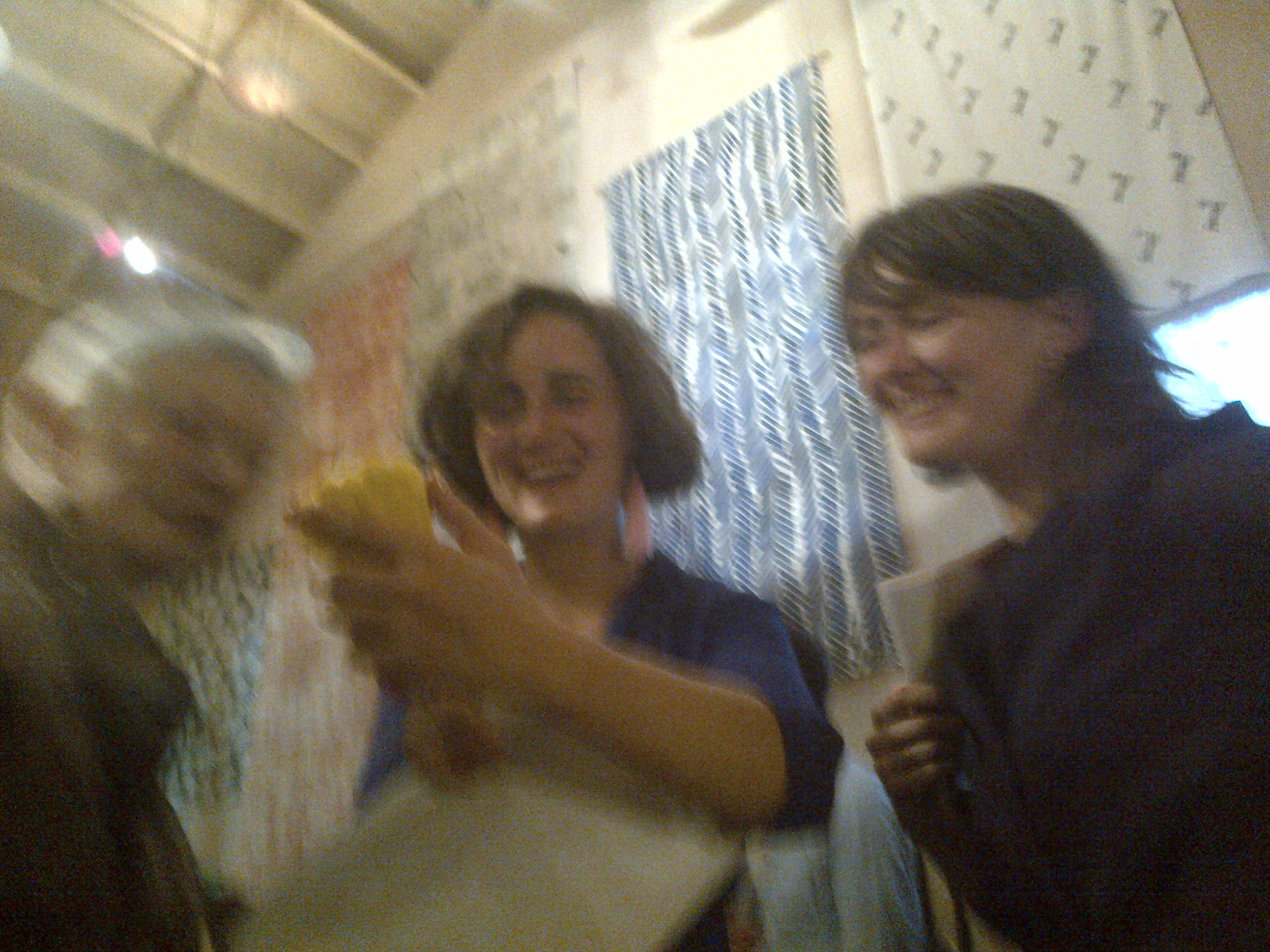 Eleanor from Cairns Street with Maria and Fran from Assemble at the Granby Turner Prize 2015 party in Glasgow's Tramway Gallery
